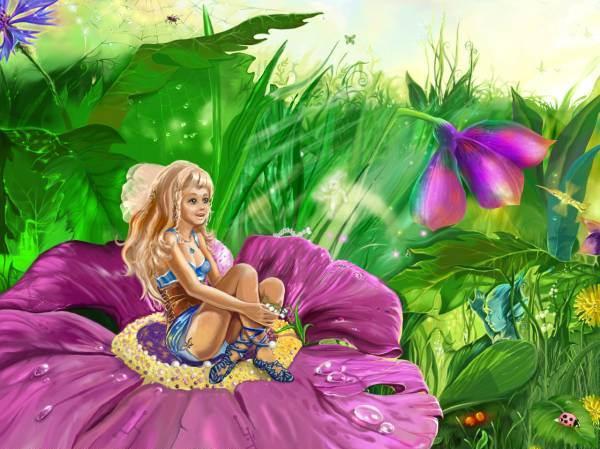 Дюймовочка на цветке картинка