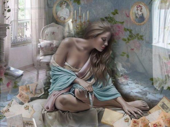 Она сидела на полу И груду писем разбирала, И, как остывшую золу, Брала их в руки и бросала.