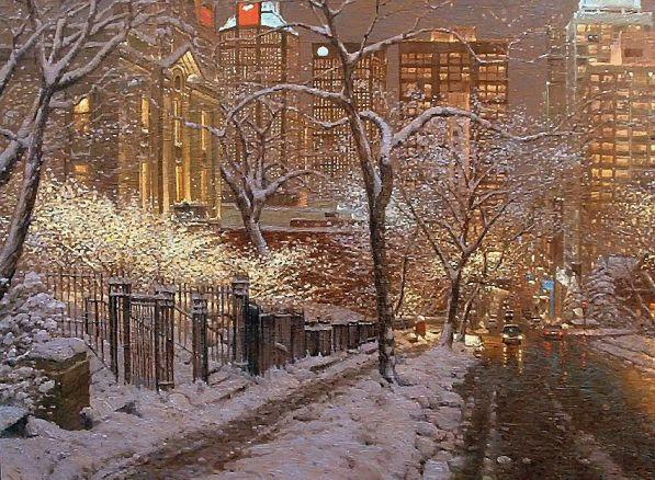 Белла Ахмадулина Какое блаженство, что блещут снега, что холод окреп, а с утра моросило, что дико и нежно сверкает фольга на каждом углу и в окне магазина.