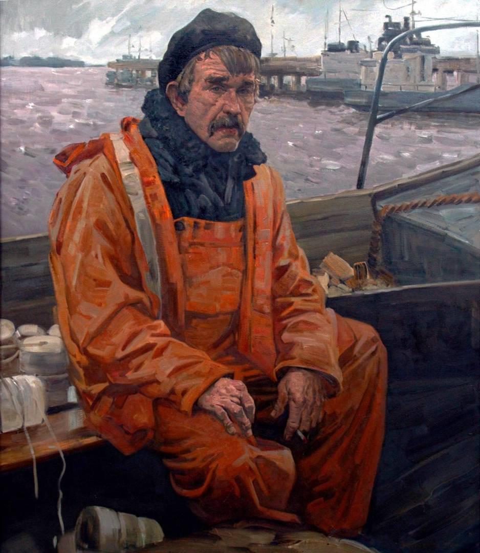 портрет рыбака маслом