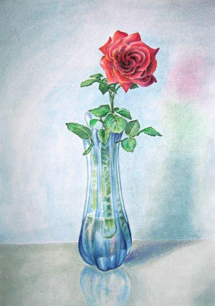 Рисуем одну розу в вазе